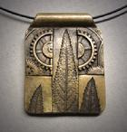 "Nature & Industry – 1;  Bronze pendant - mosae or on adjustable 16""-30"" chain."