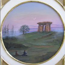 "This circular painting of a Monolith is the central element of a wall panel (one of four panels) featuring ""Decor"" above and below the painting. The panels adorn four walls beneath a ten-foot vaulted ceiling mural. Each panel painted by Jill Gibson commissioned for the Vince Flaherty villa in Pacific Palisades, California."