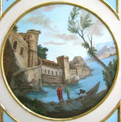 "This circular painting (transposition of a Crestador drawing) is the central element of a wall panel (one of four panels) featuring ""Decor"" above and below the painting. The panels adorn four walls beneath a ten-foot vaulted ceiling mural. Each panel painted by Jill Gibson commissioned for the Vince Flaherty villa in Pacific Palisades, California."